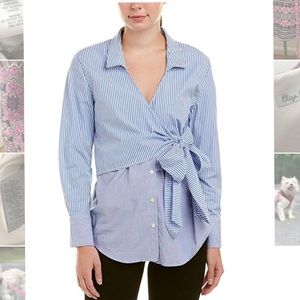 Wrap Tie Button Down Blue Striped Collared Top